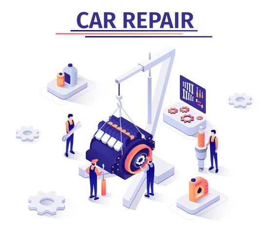 Banner de promoção com processo de reparação de motores vetor
