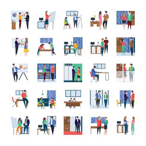 Reuniões de negócios e escritório ícone plano conjunto vetor