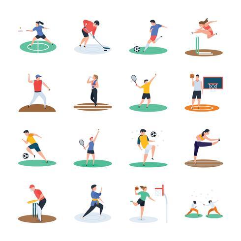 Conjunto de ícones de jogador de esportes vetor