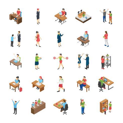 Conjunto de ícones plana de estudantes universitários e universitários vetor