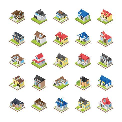 Ícones modernos edifícios vetor