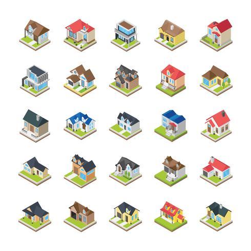 Casas edifícios ícones vetor