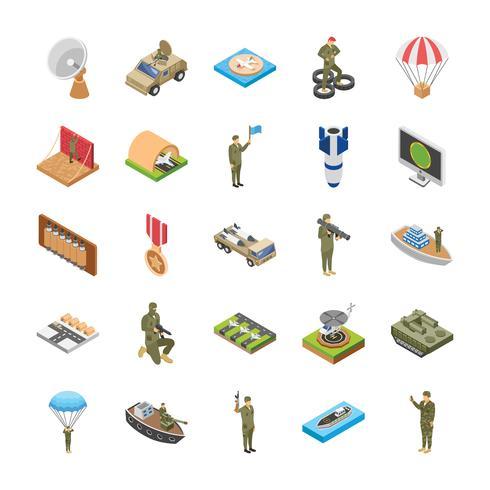 Ícones isométricos do exército de forças especiais militares vetor
