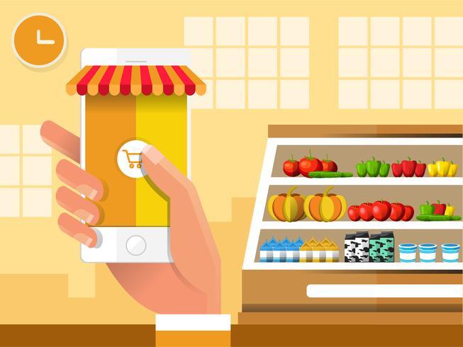 Check-out para celular na mercearia vetor