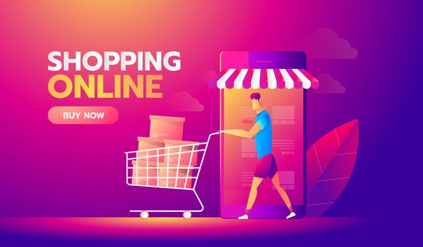 Compras online vetor