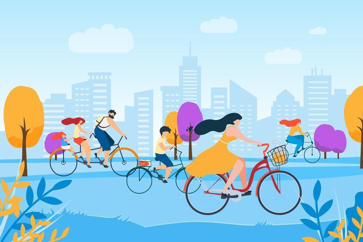 Cartoon Man Woman Família de bicicleta no parque da cidade vetor