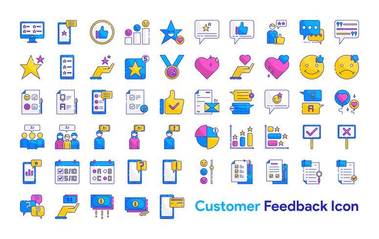 Conjunto de ícones de feedback do cliente vetor