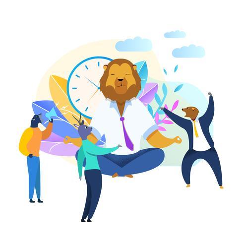 Trabalhador de escritório com cabeça de leão meditando Clipart vetor