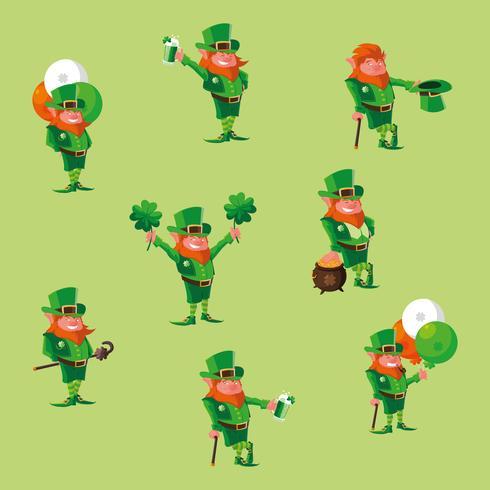 conjunto de personagem de leprechaun em quadrinhos vetor
