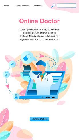 Banner Online Doctor escreve tratamento de prescrição vetor