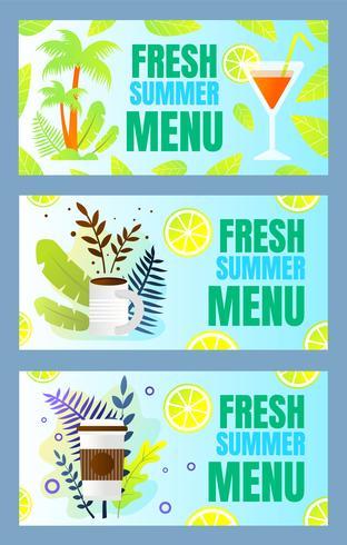 Definir Inscrição Fresh Summer Menu Cartoon Flat vetor