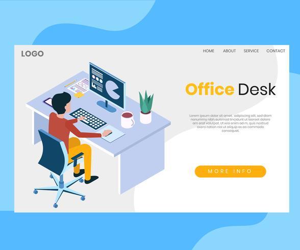 Espaço de trabalho do escritório Isometric Design vetor