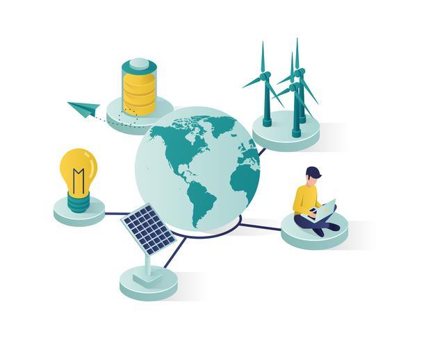 energia renovável para salvar a ilustração isométrica do mundo vetor