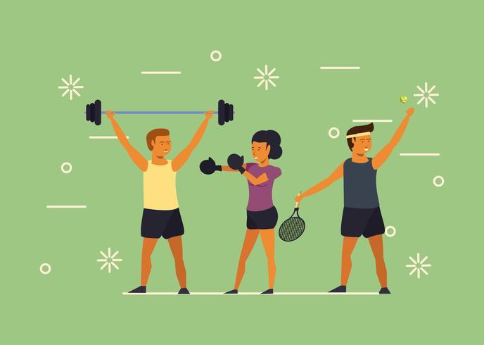 Jovens, treinamento, esportes, desenhos animados vetor