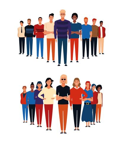 Grupos de pessoas avatar vetor