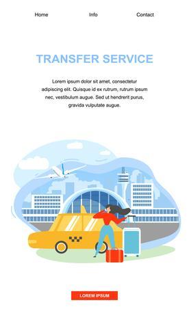 Página de chegada do serviço de transporte do aeroporto vetor