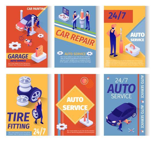 Conjunto de publicidade social para serviço de reparação de automóveis vetor