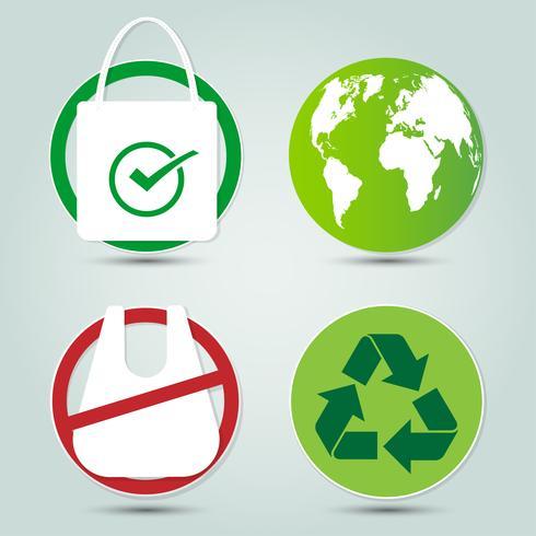ecologia e meio ambiente salvar ícones do mundo vetor