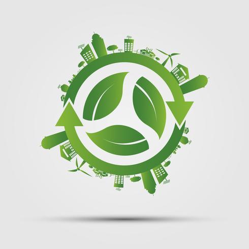 Conceito de ecologia. Salve o mundo. vetor