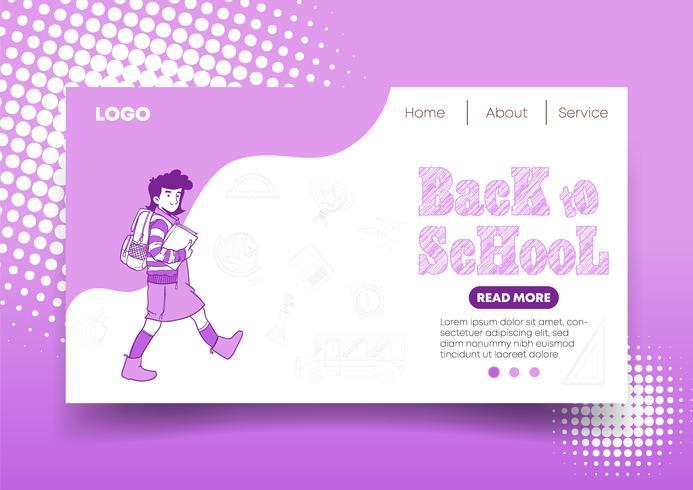 Voltar para a escola web design e Landing Page vetor