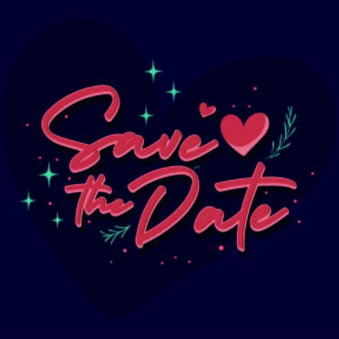 Salvar o texto do vintage da data para o dia do casamento vetor