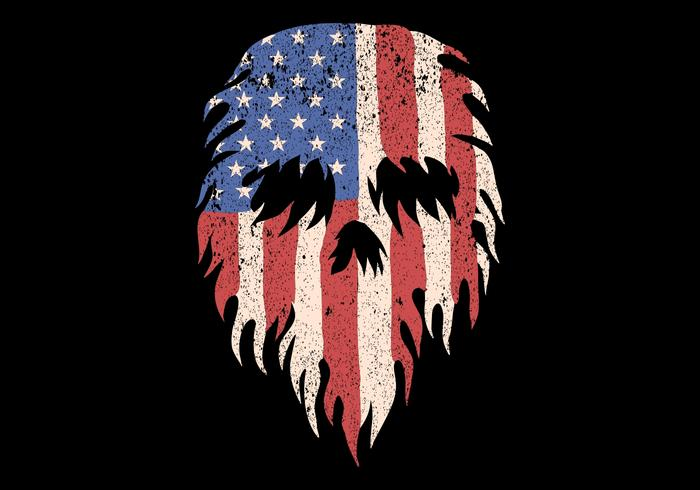 crânio feito da bandeira dos EUA vetor