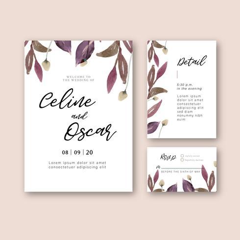 Cartão de convite de casamento floral cartão de casamento vetor