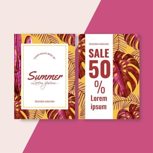Aquarela criativa de cartão de convite de verão vetor