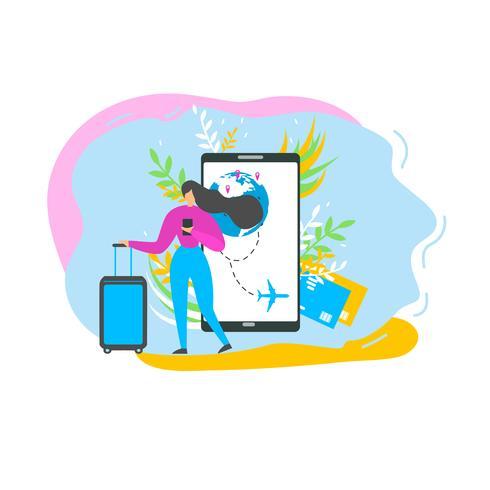 Reserva de bilhetes de avião com o Mobile App Flat vetor
