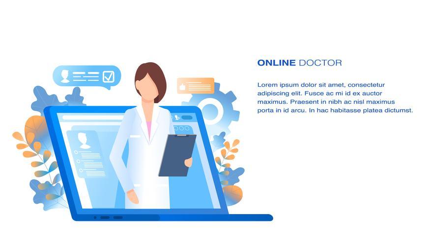 Consulta Médica e Suporte Médico Online vetor