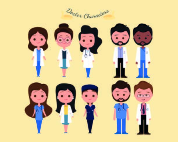 Conjunto de caracteres do hospital vetor