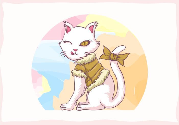 menina gato vestindo jaqueta vetor