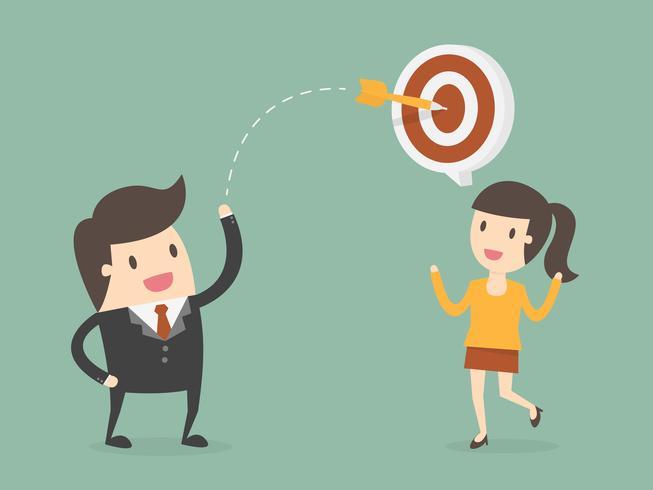 Empresário lança dardo no alvo acima do cliente vetor