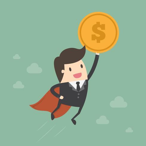 Super homem de negócios, segurando a moeda no céu vetor