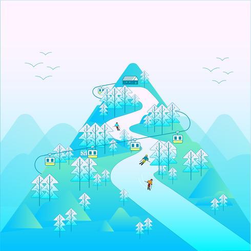 Esquiar na montanha no inverno vetor