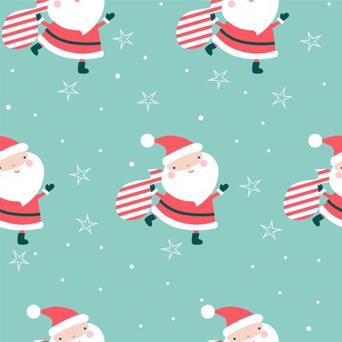 Natal sem costura padrão Papai Noel vetor