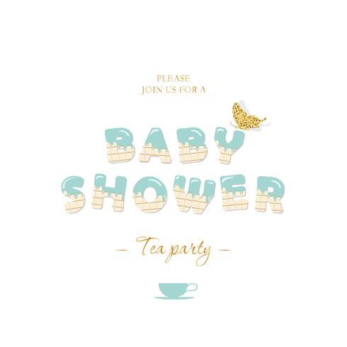 Modelo de cartão de convite de chuveiro de bebê menino vetor