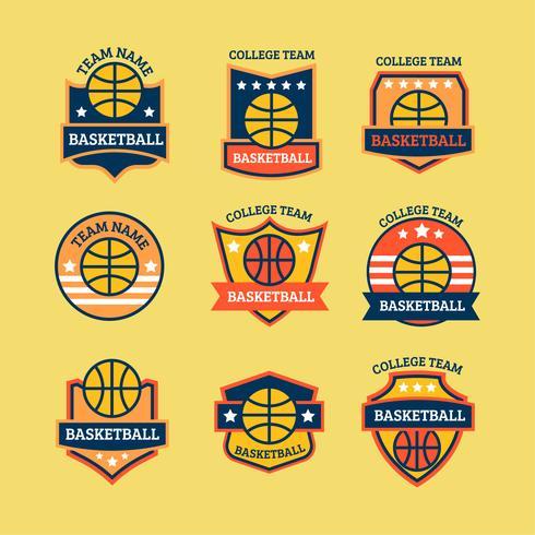 Campeonato de basquete e conjunto de logotipo do clube vetor