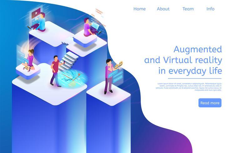 Realidade aumentada e virtual na vida cotidiana 3d vetor