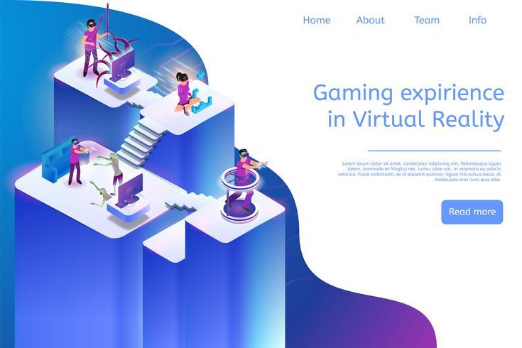 Experiência de jogos de banner em realidade virtual vetor