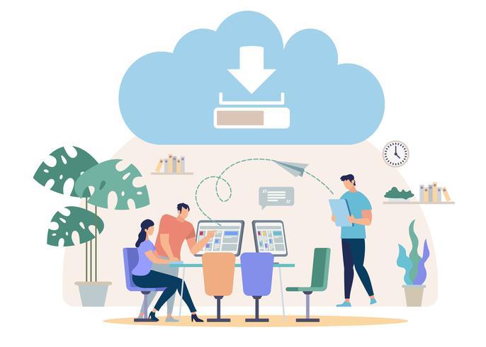 Download de arquivos da nuvem on-line vetor