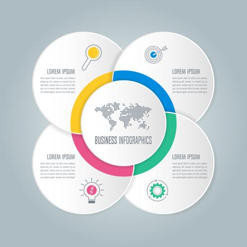 Infográfico de diagrama de círculo venn vetor