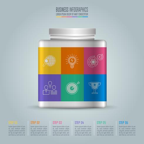 Conceito de negócio de design de infográfico de garrafa com 6 opções, partes ou processos. vetor