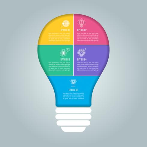 Conceito de negócio de design de lâmpada infográfico com 5 opções, partes ou processos. vetor