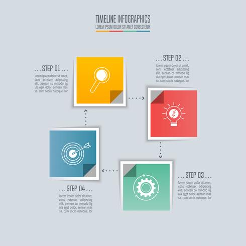 Design quadrado Timeline conceito de negócio infográfico com 4 opções. vetor