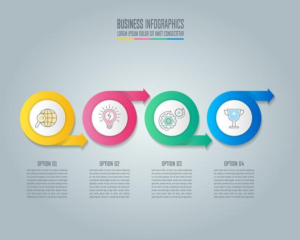 Conceito de negócio de design de infográfico seta círculo com 4 opções vetor