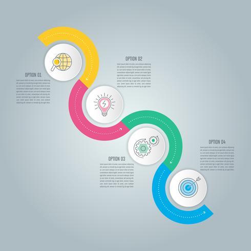Conceito de negócio de design de infográfico de onda com 4 opções, partes ou processos. vetor