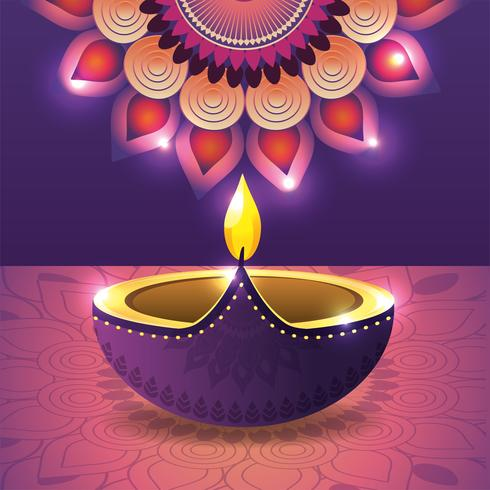vassel iluminado com mandala de flores vetor