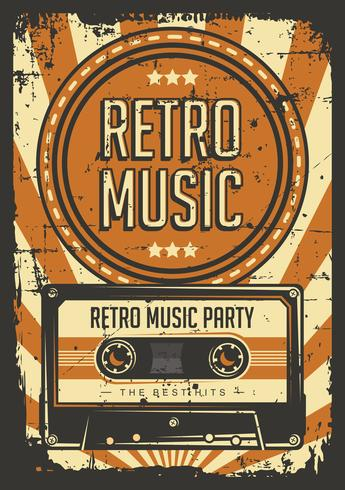 Poster retro do vintage da cassete de banda magnética vetor