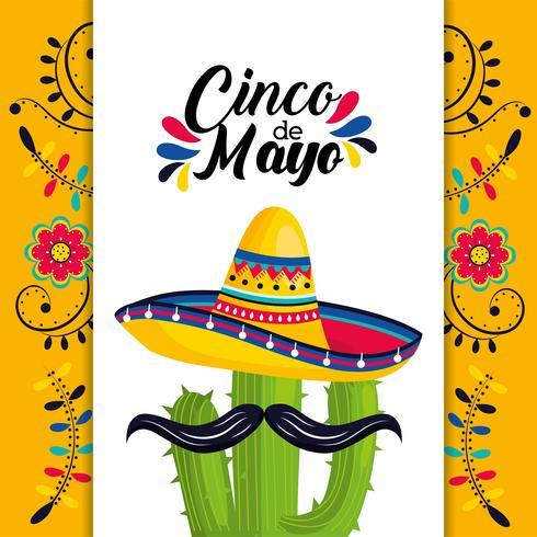 cartão mexicano com chapéu e cacto planta com bigode vetor